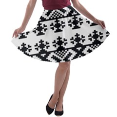 Model Traditional Draperie Line Black White Triangle A Line Skater Skirt
