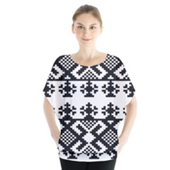 Model Traditional Draperie Line Black White Triangle Blouse by Mariart