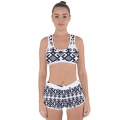 Model Traditional Draperie Line Black White Triangle Racerback Boyleg Bikini Set by Mariart