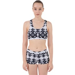 Model Traditional Draperie Line Black White Triangle Work It Out Sports Bra Set by Mariart
