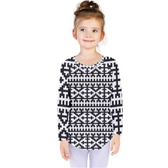 Model Traditional Draperie Line Black White Kids  Long Sleeve Tee