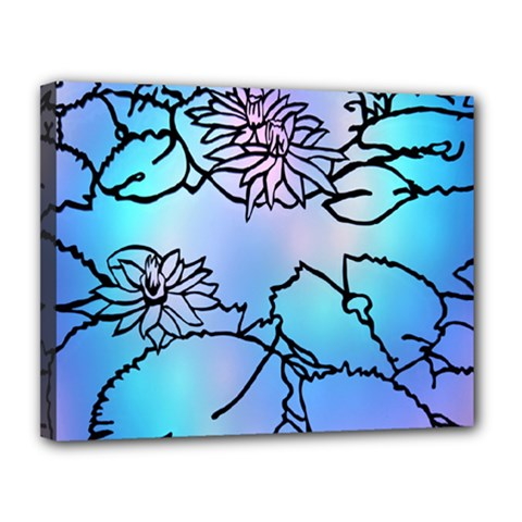 Lotus Flower Wall Purple Blue Canvas 14  X 11  by Mariart