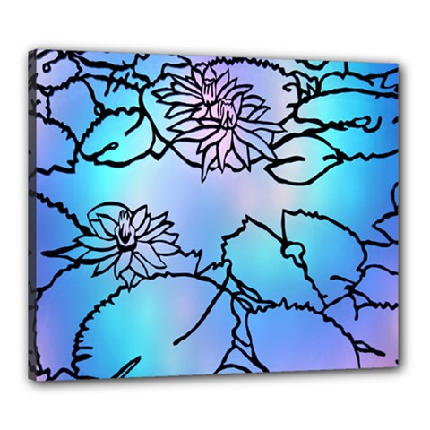 Lotus Flower Wall Purple Blue Canvas 24  X 20  by Mariart