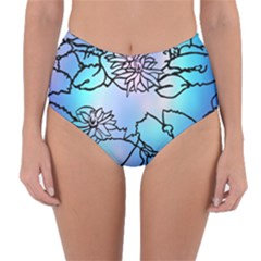 Lotus Flower Wall Purple Blue Reversible High-waist Bikini Bottoms