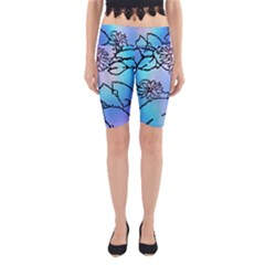 Lotus Flower Wall Purple Blue Yoga Cropped Leggings by Mariart