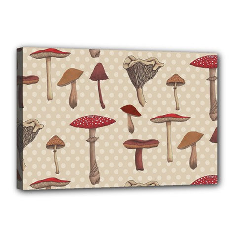 Mushroom Madness Red Grey Brown Polka Dots Canvas 18  X 12  by Mariart