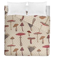 Mushroom Madness Red Grey Brown Polka Dots Duvet Cover Double Side (queen Size) by Mariart