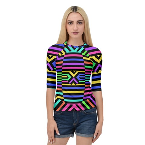 Optical Illusion Line Wave Chevron Rainbow Colorfull Quarter Sleeve Raglan Tee by Mariart