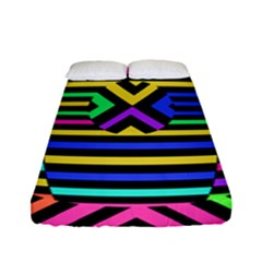 Optical Illusion Line Wave Chevron Rainbow Colorfull Fitted Sheet (full/ Double Size) by Mariart
