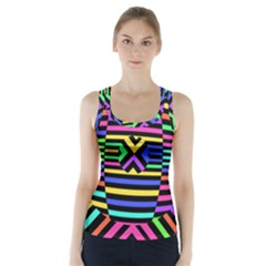 Optical Illusion Line Wave Chevron Rainbow Colorfull Racer Back Sports Top