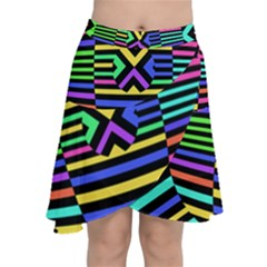 Optical Illusion Line Wave Chevron Rainbow Colorfull Chiffon Wrap