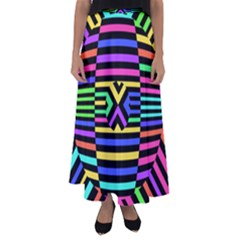 Optical Illusion Line Wave Chevron Rainbow Colorfull Flared Maxi Skirt