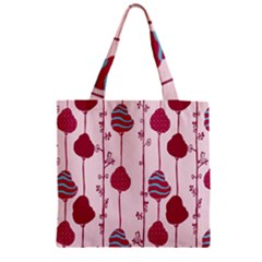 Original Tree Bird Leaf Flower Floral Pink Wave Chevron Blue Polka Dots Zipper Grocery Tote Bag by Mariart