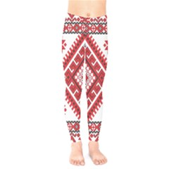Model Traditional Draperie Line Red White Triangle Kids  Legging