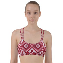 Model Traditional Draperie Line Red White Triangle Line Them Up Sports Bra