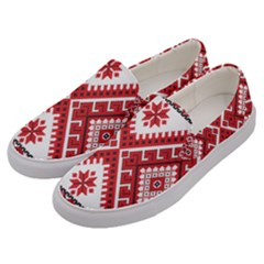 Model Traditional Draperie Line Red White Triangle Men s Canvas Slip Ons by Mariart