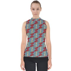 Mushroom Madness Red Grey Polka Dots Shell Top by Mariart