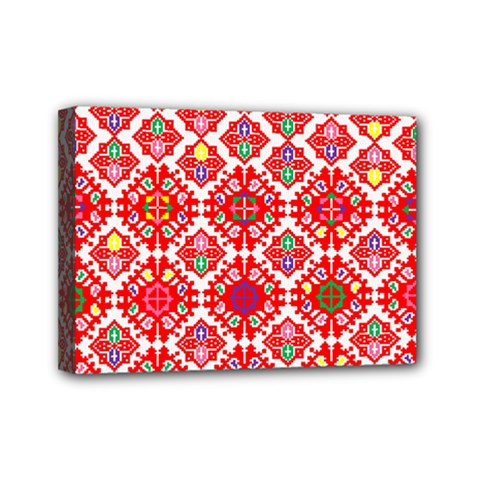 Plaid Red Star Flower Floral Fabric Mini Canvas 7  X 5  by Mariart