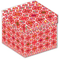 Plaid Red Star Flower Floral Fabric Storage Stool 12   by Mariart
