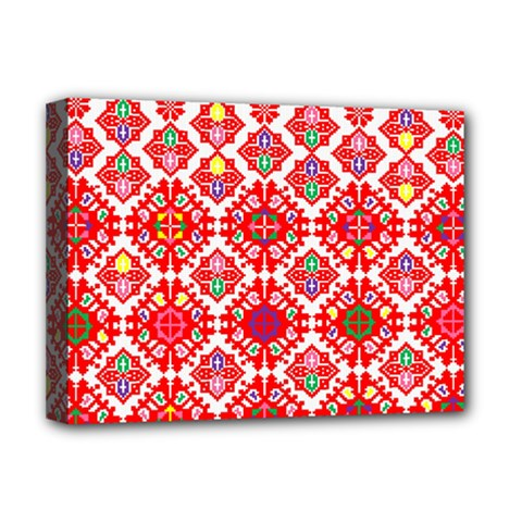 Plaid Red Star Flower Floral Fabric Deluxe Canvas 16  X 12   by Mariart