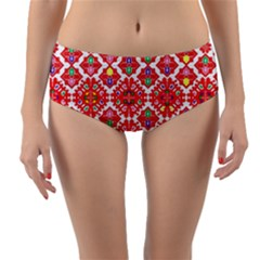 Plaid Red Star Flower Floral Fabric Reversible Mid Waist Bikini Bottoms by Mariart