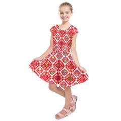 Plaid Red Star Flower Floral Fabric Kids  Short Sleeve Dress by Mariart