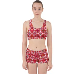 Plaid Red Star Flower Floral Fabric Work It Out Sports Bra Set by Mariart