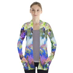 Color Mix Canvas                     Women s Open Front Pockets Cardigan