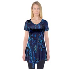 Pattern Butterfly Blue Stone Short Sleeve Tunic  by Mariart