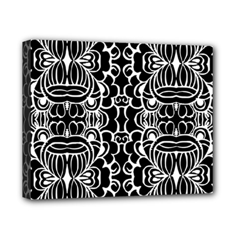 Psychedelic Pattern Flower Black Canvas 10  X 8