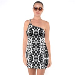 Psychedelic Pattern Flower Black One Soulder Bodycon Dress