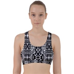Psychedelic Pattern Flower Black Back Weave Sports Bra