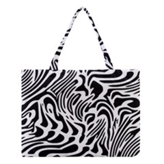 Psychedelic Zebra Black White Line Medium Tote Bag by Mariart
