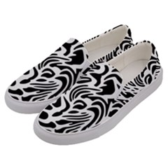 Psychedelic Zebra Black White Line Men s Canvas Slip Ons by Mariart