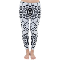 Psychedelic Pattern Flower Crown Black Flower Classic Winter Leggings