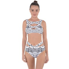 Psychedelic Pattern Flower Crown Black Flower Bandaged Up Bikini Set  by Mariart