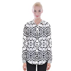 Psychedelic Pattern Flower Crown Black Flower Womens Long Sleeve Shirt