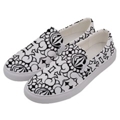 Psychedelic Pattern Flower Crown Black Flower Men s Canvas Slip Ons by Mariart