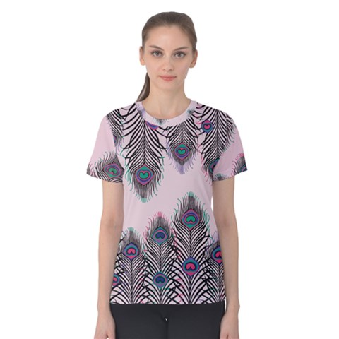 Peacock Feather Pattern Pink Love Heart Women s Cotton Tee by Mariart