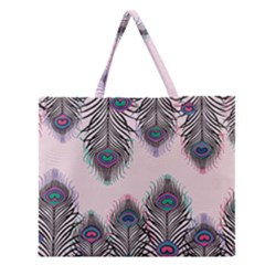 Peacock Feather Pattern Pink Love Heart Zipper Large Tote Bag by Mariart