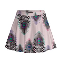 Peacock Feather Pattern Pink Love Heart Mini Flare Skirt