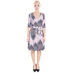 Peacock Feather Pattern Pink Love Heart Wrap Up Cocktail Dress by Mariart