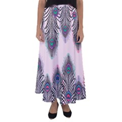 Peacock Feather Pattern Pink Love Heart Flared Maxi Skirt