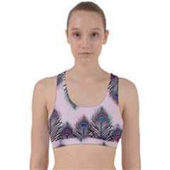 Peacock Feather Pattern Pink Love Heart Back Weave Sports Bra