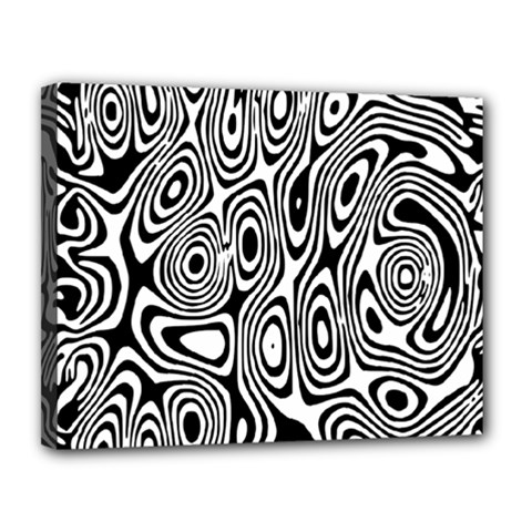 Psychedelic Zebra Black White Canvas 14  X 11  by Mariart