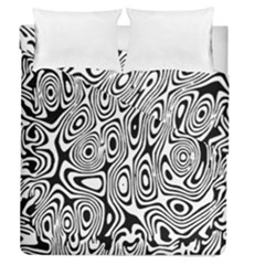 Psychedelic Zebra Black White Duvet Cover Double Side (queen Size) by Mariart