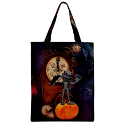 Funny Mummy With Skulls, Crow And Pumpkin Zipper Classic Tote Bag by FantasyWorld7