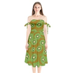 Relativity Pattern Moon Star Polka Dots Green Space Shoulder Tie Bardot Midi Dress by Mariart