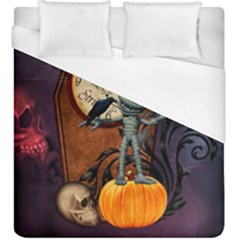 Funny Mummy With Skulls, Crow And Pumpkin Duvet Cover (king Size) by FantasyWorld7