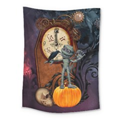 Funny Mummy With Skulls, Crow And Pumpkin Medium Tapestry by FantasyWorld7